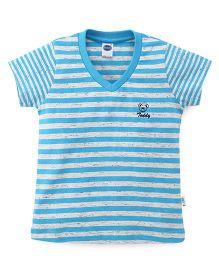 Teddy Half Sleeves Tee Striped - Blue White