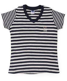 Teddy Half Sleeves Tee Striped - Navy White
