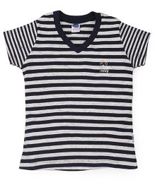 Teddy Half Sleeves Tee Striped - Navy White