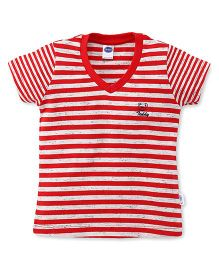 Teddy Half Sleeves Tee Striped - Red White