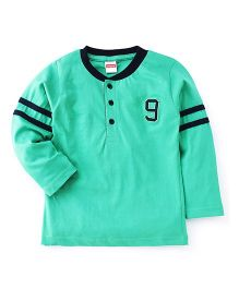 Babyhug Full Sleeve T-Shirt Number 9 Embroidery - Green