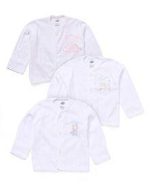 Zero Full Sleeves Printed Vest Pack Of 3 - White