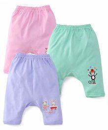 Zero Diaper Leggings Set Of 3 - Pink Green Purple