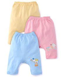 Zero Diaper Leggings Set Of 3 - Pink Blue Yellow