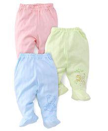 Zero Bootie Leggings Pack Of 3  - Peach Green Blue