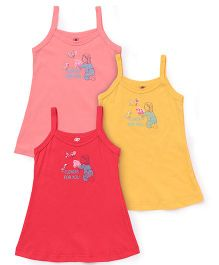 Zero Singlet Slips Pack Of 3 - Yellow Peach Pink
