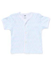Zero Half Sleeves Vest Allover Print - White & Sky Blue