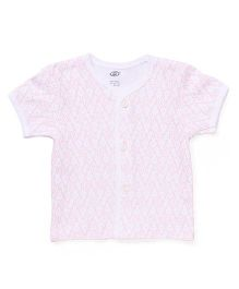 Zero Half Sleeves Vest Allover Print - White & Pink