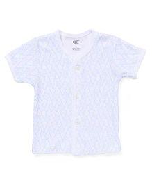 Zero Half Sleeves Vest Allover Print - White & Blue