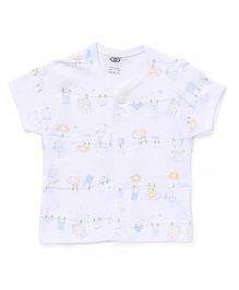 Zero Half Sleeves Vest Allover Print Pack Of 3 - White