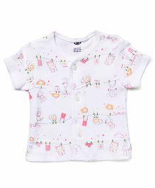Zero Half Sleeves Printed Vest - White & Pink