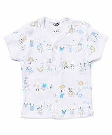 Zero Half Sleeves Printed Vest - White & Blue