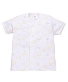Zero Half Sleeves Vest Allover Print - White
