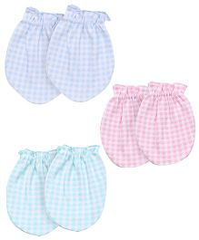 Zero Checks Print Mittens Pack Of 3 - Blue Pink Sea Green