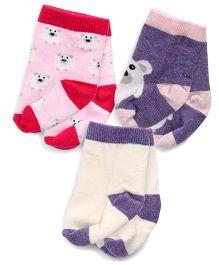 Mustang Teddy Design Socks Set Of 3 - Pink Purple Cream