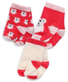 Mustang Teddy Design Socks Set Of 3 - Red Pink Cream