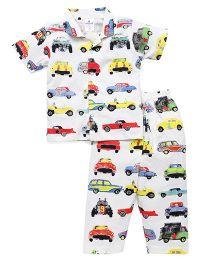 Ollypop Half Sleeves Night Suit Car Print - Off White