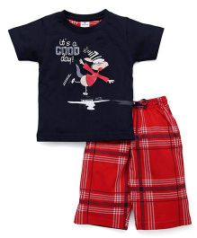 Ollypop Half Sleeves T-Shirt & Shorts Set Good day Print - Navy Red