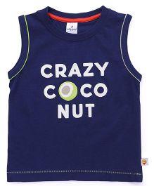 Ollypop Sleeveless Tee Crazy Coconut Print - Navy Blue