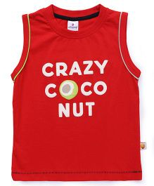 Ollypop Sleeveless Tee Crazy Coconut Print - Red