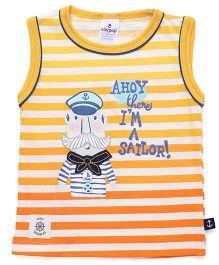Ollypop Sleeveless Tee Stripes Print - Yellow Orange