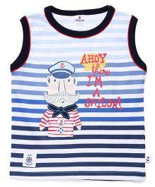 Ollypop Sleeveless Tee Stripes Print - Blue White