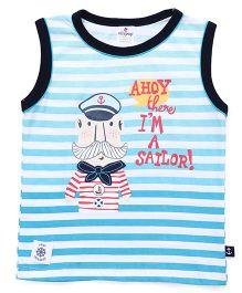 Ollypop Sleeveless Tee Stripes Print - Light Blue White