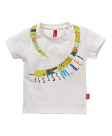 Spark  Half Sleeves Tee Printed With Snap Buttons - Off White
