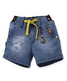 Spark Denim Shorts With Drawstring - Light Blue