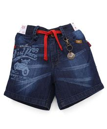 Spark Denim Shorts With Drawstring - Dark Blue