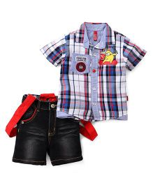 Spark Half Sleeves Checks Shirt Denim Shorts Set With Suspenders - Red Blue White