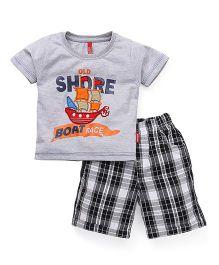 Spark Half Sleeves T-Shirt Printed And Checks Shorts - Grey Black