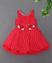 Blue Leaf	Sleeveless Floral Applique Party Dress - Tomato Red