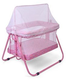 Mothertouch Jumbo Cradle With Mosquito Net Rabbit & Teddy Print - Pink