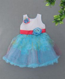 Blue Leaf	 Floral Applique Dress - Blue