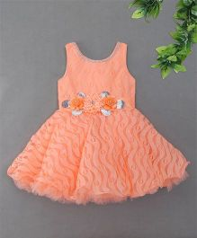 Blue Leaf	Sleeveless Floral Applique Party Dress - Pink