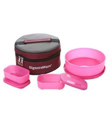 Signoraware Plastic Classic Lunch Box With Bag Pink - Set Of 3