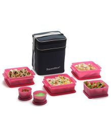 Signoraware Plastic Family Pack Lunch Box With Bag Pink - Set Of 6