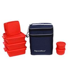 Signoraware Plastic Family Pack Lunch Box With Bag Red - Set Of 6