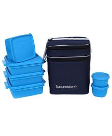 Signoraware Plastic Family Pack Lunch Box With Bag Blue - Set Of 6