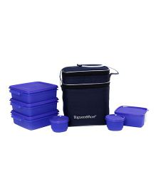 Signoraware Plastic Family Pack Lunch Box With Bag Violet - Set Of 6