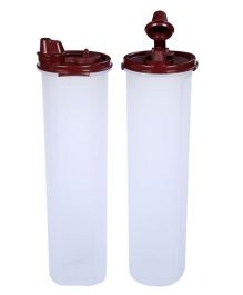 Signoraware Cylindrical 1Containers Set Of 2 Maroon - 1.1 litre