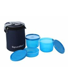 Signoraware Executive Lunch Box With Bag 516 Set Of 3 - Assorted Colors