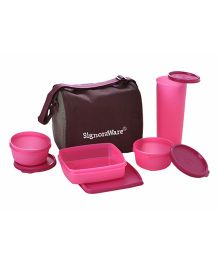 Signoraware Best Pink Plastic Jumbo Lunch Box with Bag - Set of 4