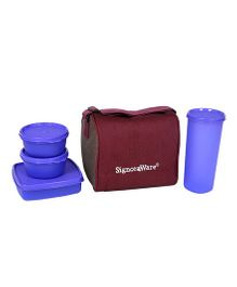 Signoraware Best Purple Plastic Jumbo Lunch Box with Bag - Set of 4