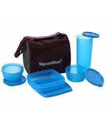 Signoraware Best Blue Plastic Jumbo Lunch Box with Bag - Set of 4