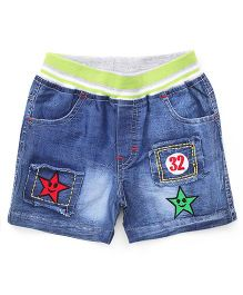 Babyhug Shorts With Patchwork - Blue Green