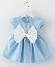 Lil Mantra Cap Sleeve Denim Dress With Cute Bow - Blue & White