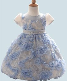 Lil Mantra Flower Applique Dress With Stone Work Waistband - Blue