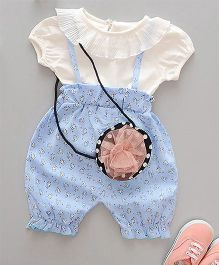 Lil Mantra Dungaree Style Top And Bottom Set - Blue